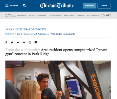 "Chicago Tribune: Area Resident Opens ""Smart Gym"" in Park Ridge"