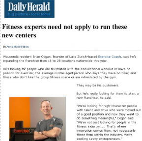 Daily Herald: CEO Brian Cygan Describes the Business Model of The Exercise Coach®