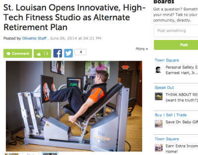 Olivette Patch: St. Louisian Opens Innovative, High-Tech Fitness Studio as Alternate Retirement Plan